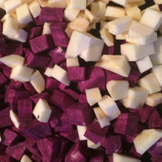 Lila Suesskartoffelbrei