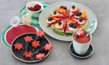 Wassermelonenpizza melonensmoothie Melonenspieße