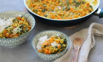 Vegetarisches Curry mit Spinat Suesskartoffel Familienkost